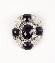 Large Round Beaded  Black and Pearl Brooch